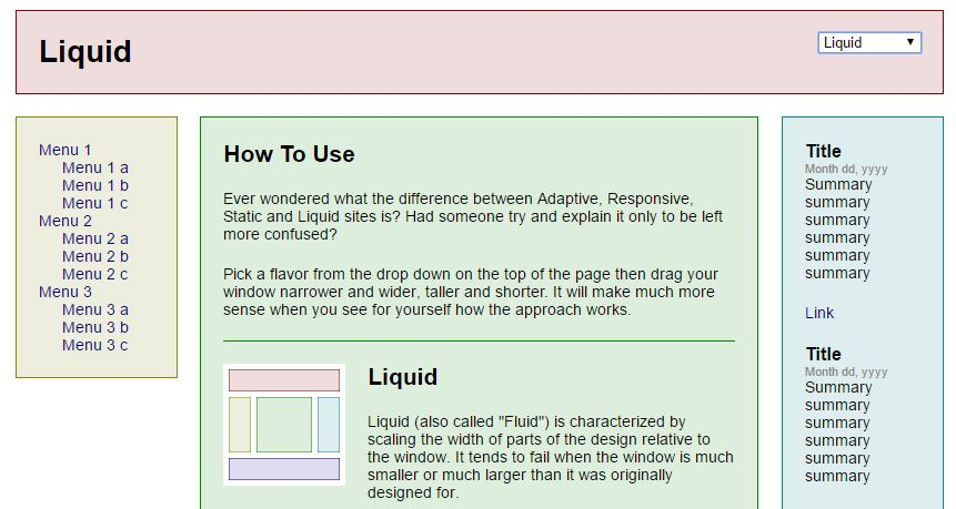Example for Liquid Design Layout / Fluid Design Layout