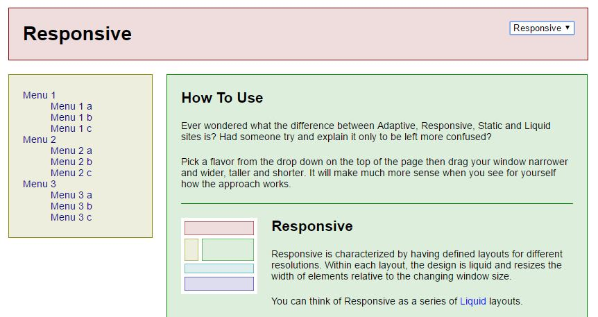 Example for Responsive Layout