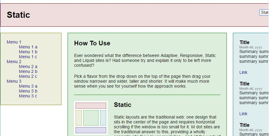 Example for Static Layout